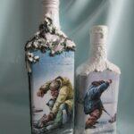 декупаж бутылки рыбалка