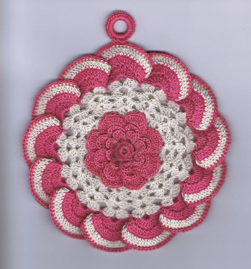 подставка под горячее крючком роза