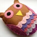 подушка сова из фетра
