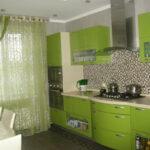 зеленые шторы в кухне
