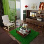 зеленые шторы в квартире