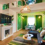 зеленые шторы плтоные