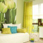 зеленые шторы цветы