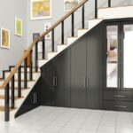 шкаф под лестницей темно-серый