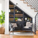 шкаф под лестницей серый стеллаж