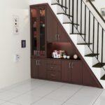 шкаф под лестницей темный сервант