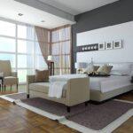 шторы хай-тек коричневые в спальне