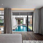 шторы хай-тек у бассейна