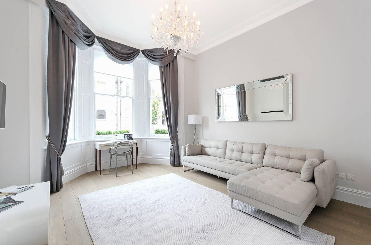 шторы к серым обоям для гостиной