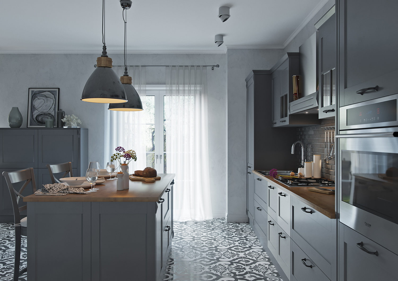 шторы к серым обоям на кухне
