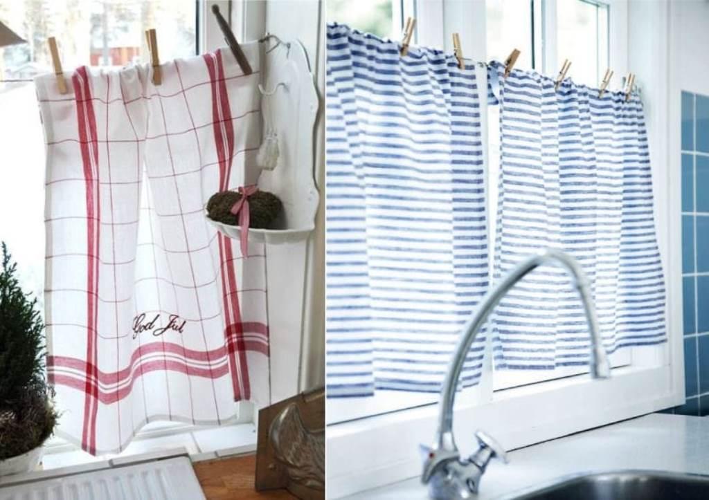 шторы на кухню из полотенец