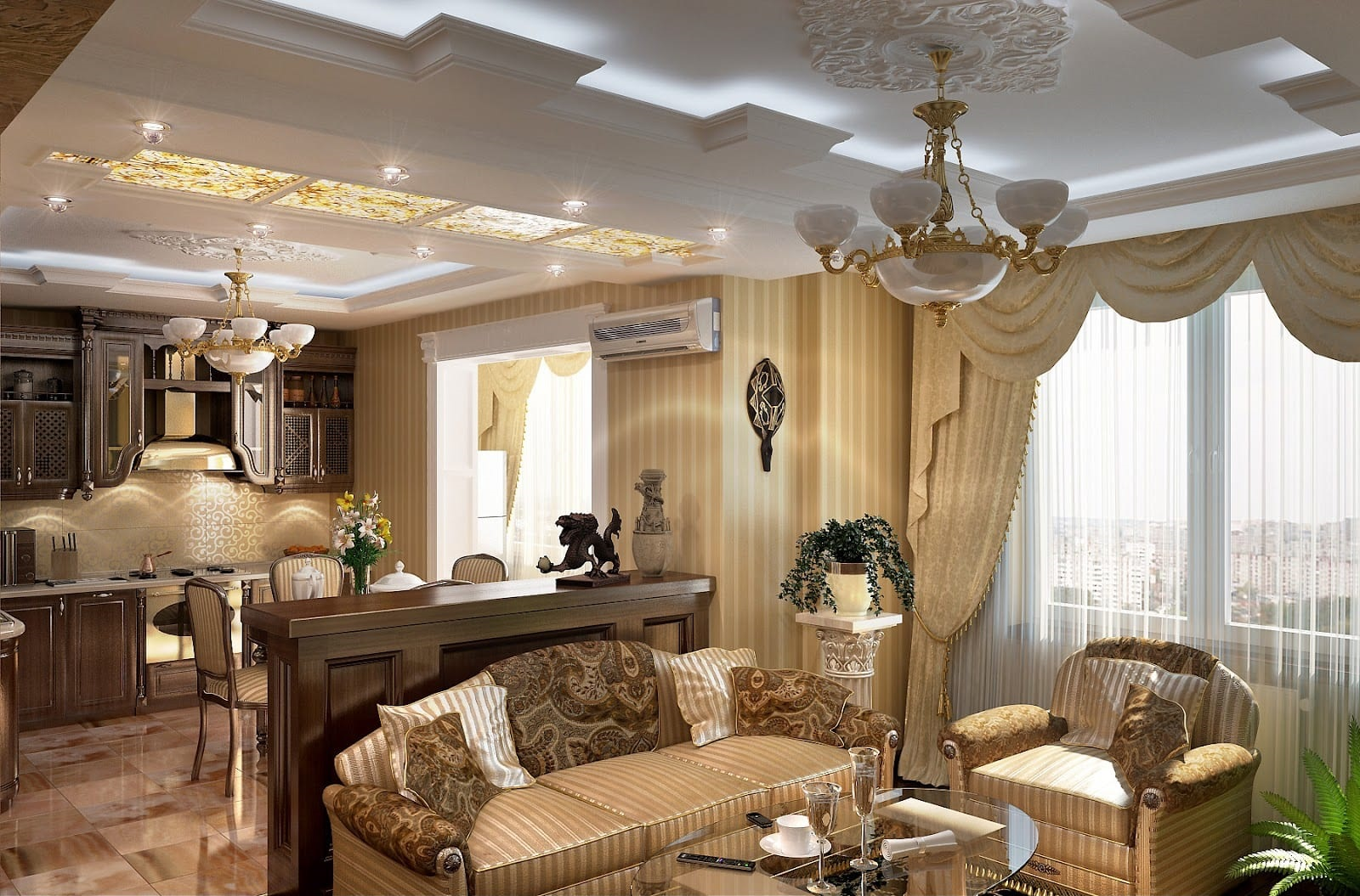 шторы в классической кухне-гостиной