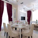 шторы в кухню-гостиную бордовые