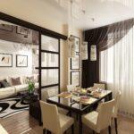 шторы с тюлем в кухню-гостиную