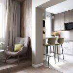 шторы в кухню-гостиную прямые
