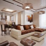 шторы в кухню-гостиную коричневые