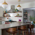 шторы в кухню-гостиную серые сбоку