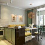 шторы в кухню-гостиную зеленые