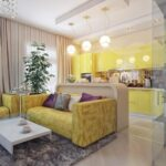 шторы в кухню-гостиную с желтым диваном