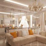 шторы в кухню-гостиную с диваном