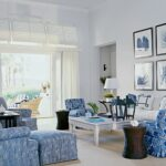 морские шторы в синей гостиной