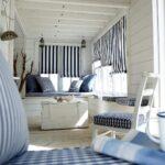 морские шторы полосатые рулонные