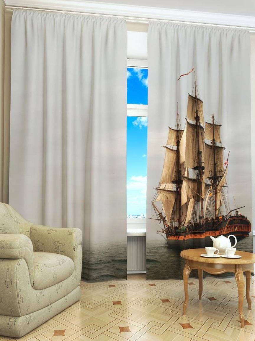 морские шторы с кораблем