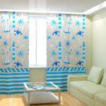 морские шторы бело-голубые