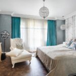 морские шторы бирюзовые в спальне
