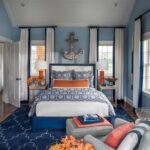 морские шторы в спальне белые