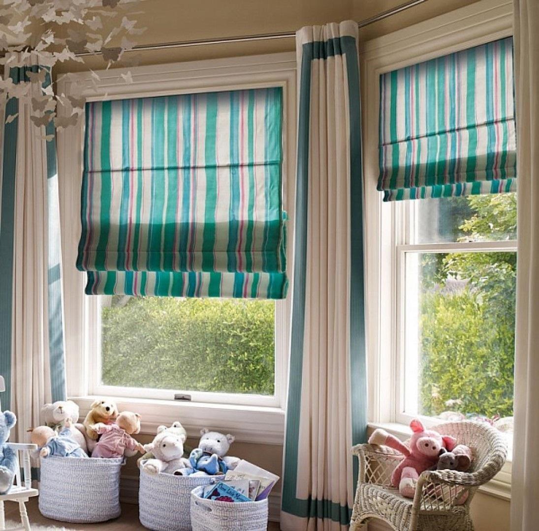 полосатые шторы в детской