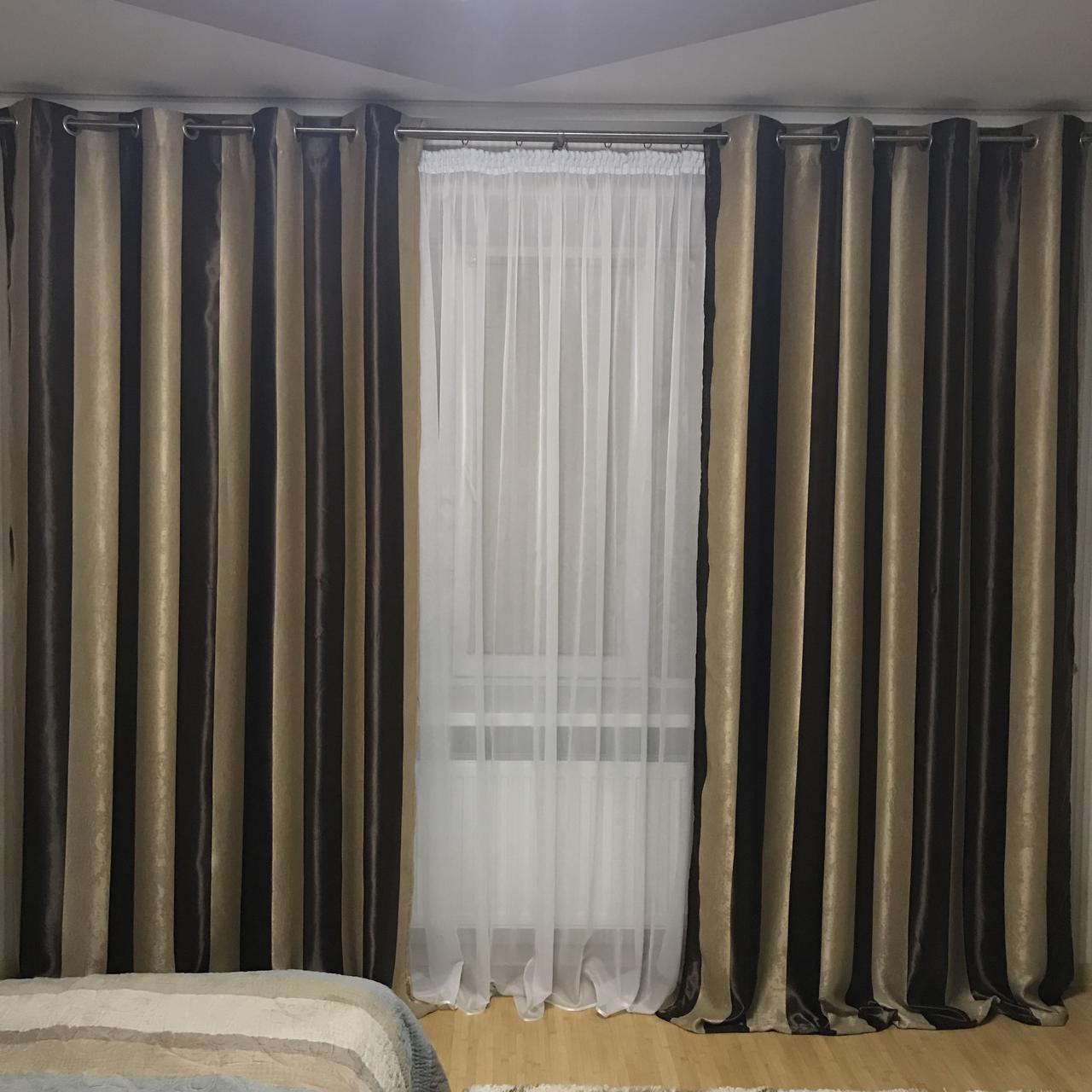 полосатые шторы в спальню