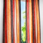 шторы в полоску красно-коричневые