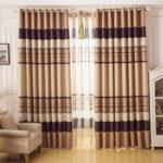 шторы в полоску коричневые