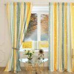 шторы в полоску желтые серые
