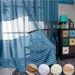 шторы в полоску тюль синий