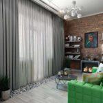 шторы лофт серые с тюлем