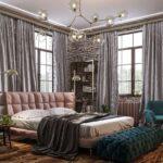 шторы лофт серые с кроватью