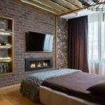 шторы лофт бордовые в спальне