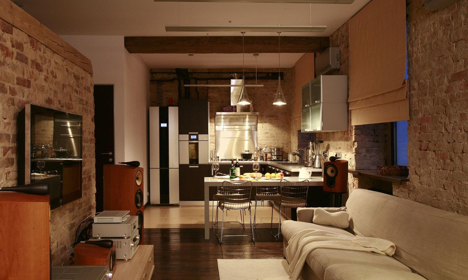 римские шторы на кухню лофт