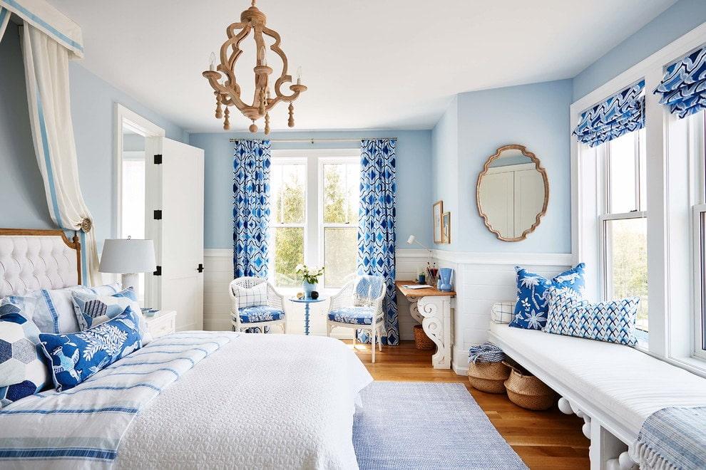 синие шторы декор фото