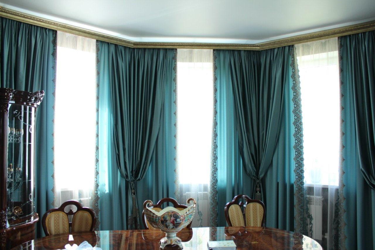 синие шторы фото дизайна