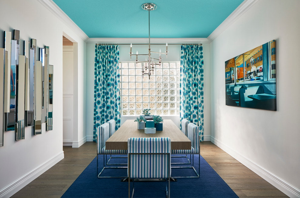 синие шторы идеи дизайна