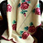 тунисская вязка плед с розами