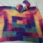 тунисская вязка ковер цветной