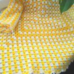 тунисская вязка желтый плед
