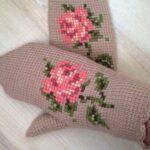 тунисская вязка рукавицы