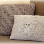 подушки вязаные с совой