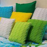 подушки вязаные зеленые