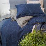 темно-синее сатиновое постельное белье